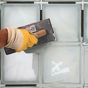 монтаж стеклоблока без применения раствора